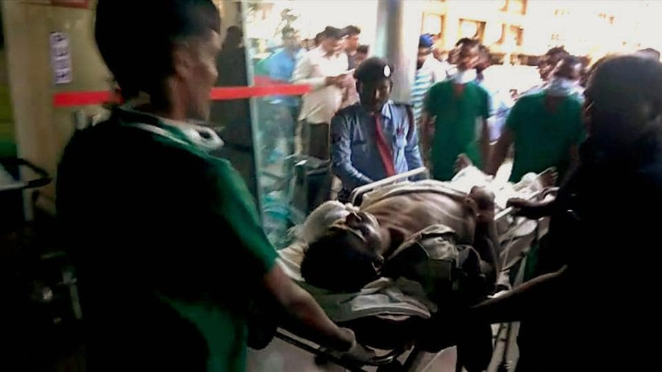An injured CRPF soldier being brought to Raipur for treatment on Monday following a Maoist attack at Burkapal near Chintagufa in Bastar.