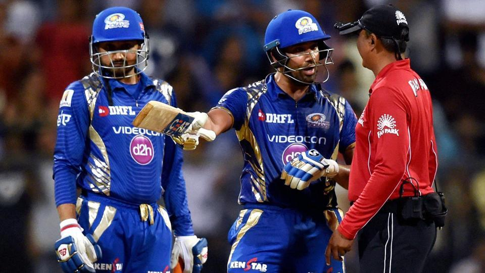 Mumbai: Mumbai Indians' Rohit Sharma argues with an umpire during the IPL match against Rising Pune Supergiant. (PTI)