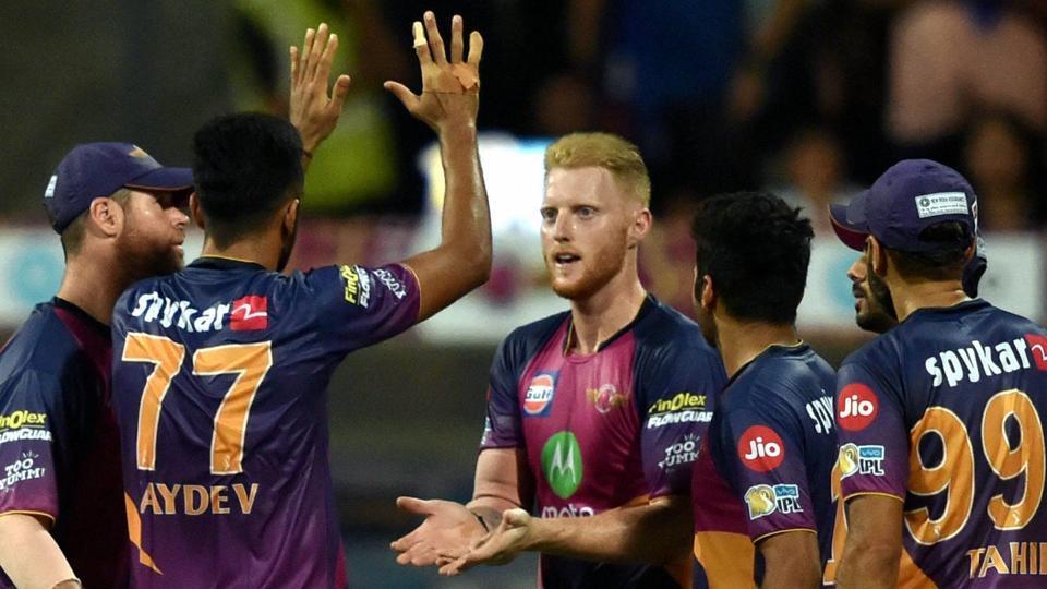 Rising Pune Supergiants' players celebrate the dismissal of Hardik Pandya during the IPL match against Mumbai Indians. (PTI)