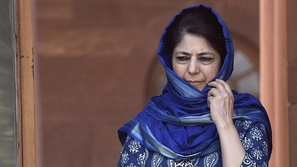 Jammu and Kashmir chief minister Mehbooba Mufti at the South Block, April 13.