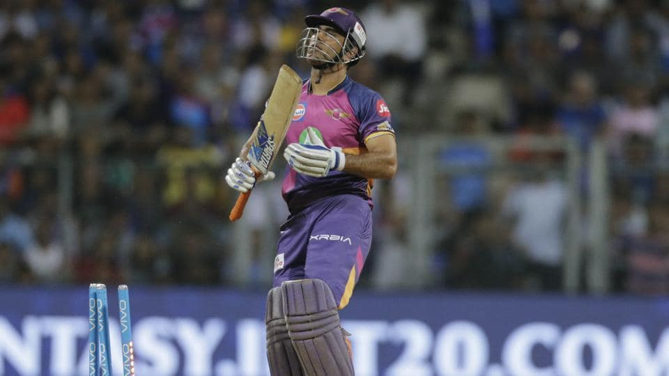 Rising Pune Supergiant batsman Mahendra Singh Dhoni reacts after losing his wicket. (AP)
