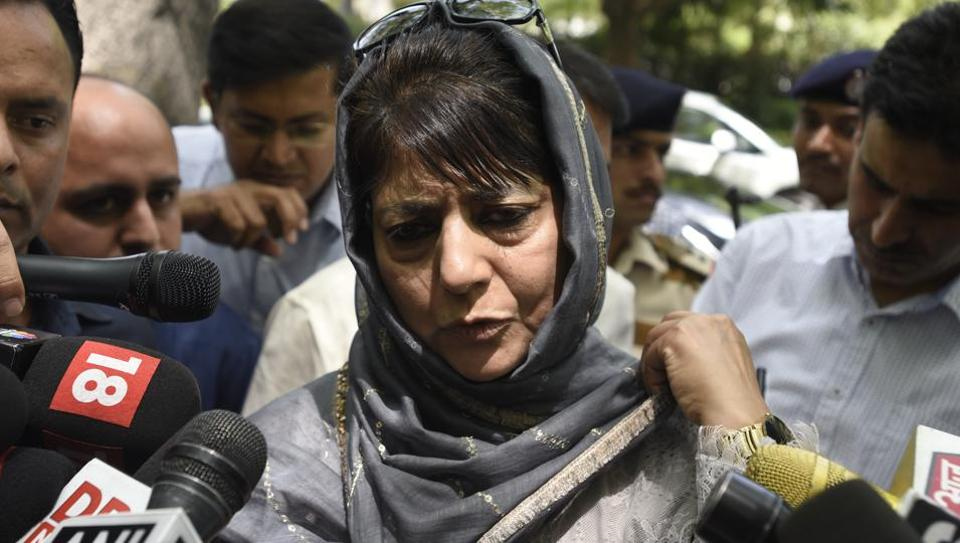 Mehbooba Mufti addresses media persons after meeting PM Modi in New Delhi on Monday.