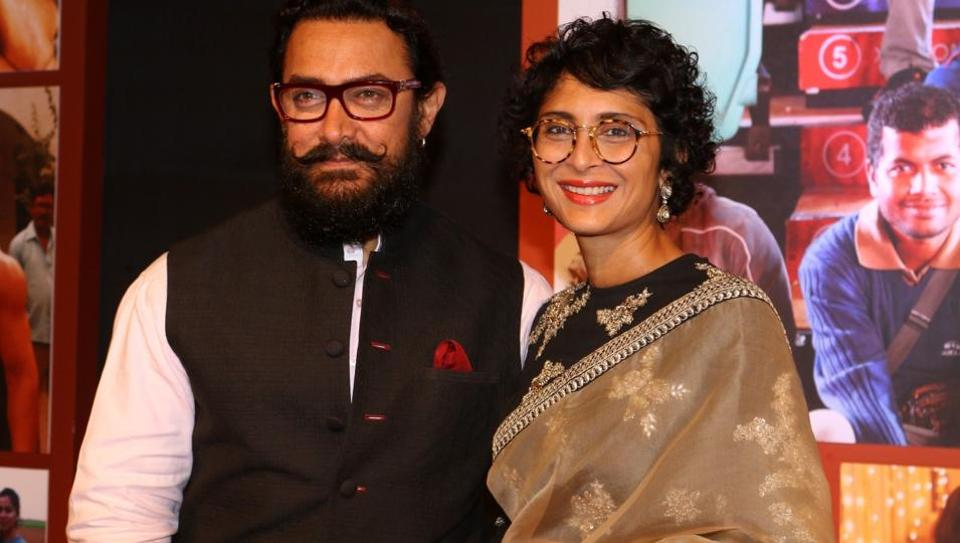 Aamir Khan along with his wife Kiran Rao during the success party of film Dangal in Mumbai on Feb 4, 2017.