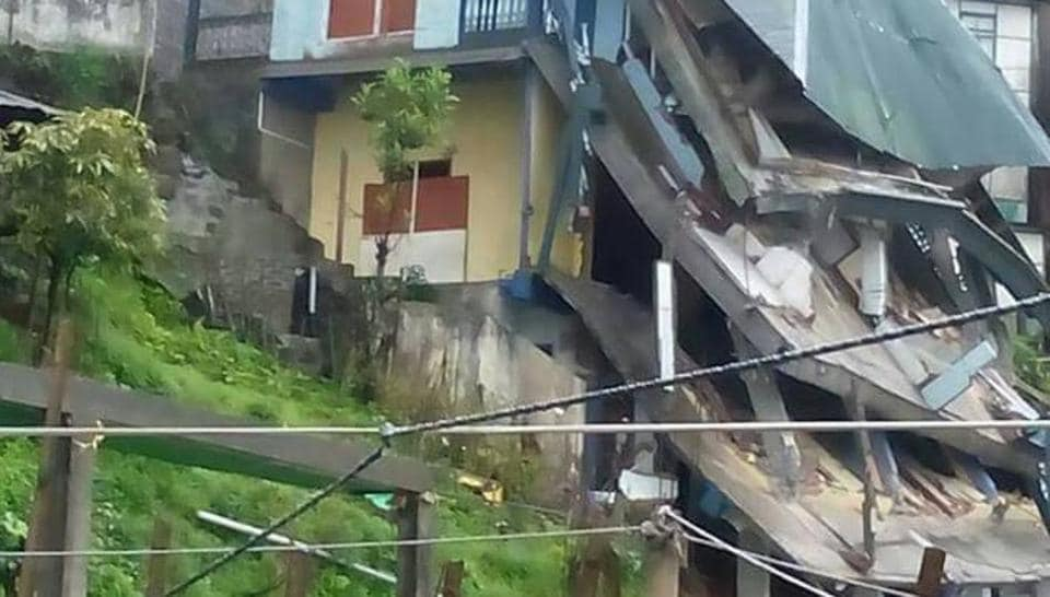 A house collapsed in Aizawl due to heavy rain.