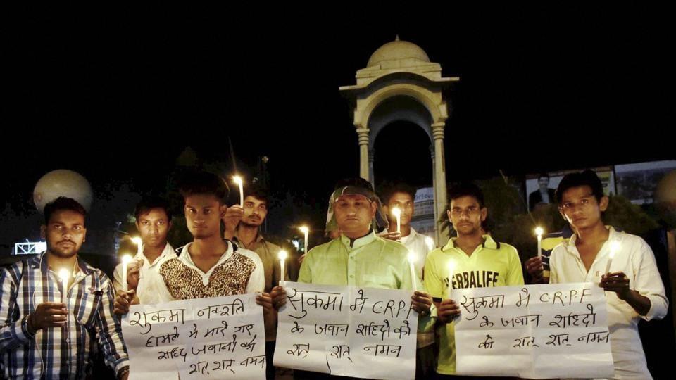 A candle light vigil to pray for CRPF jawans who lost their lives in a Naxal attack in Chhattisgarh's Sukma district, in Patna.