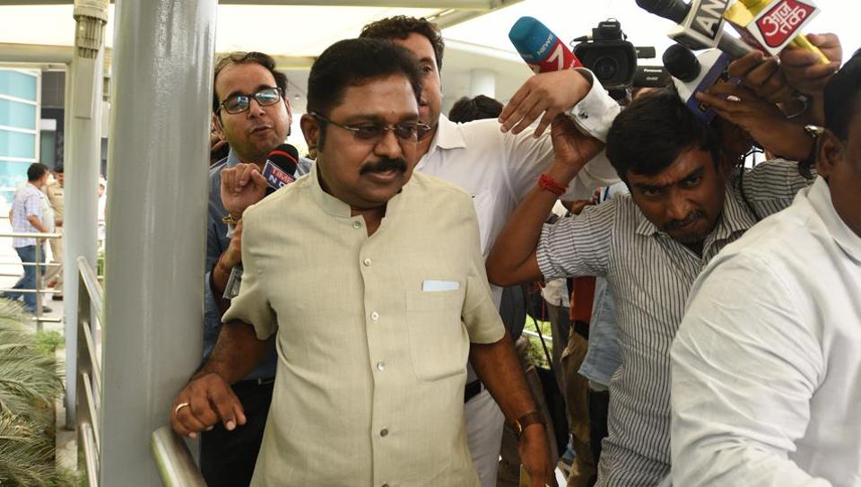 AIADMK leader TTV Dhinakaran arriving to appear before Delhi police on April 22.