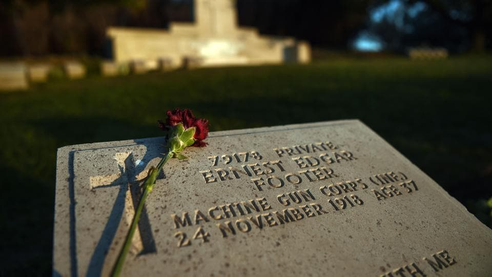 An ANZAC soldier grave stone is pictured at the ANZAC cemetery near the ANZAC cove in Canakkale.  (Ozan Kose/AFP)