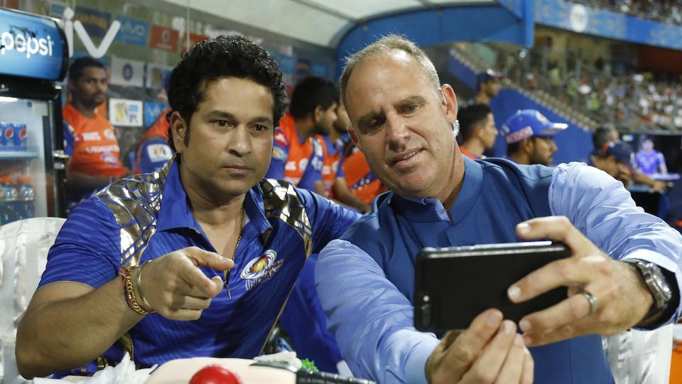 Sachin Tendulkar obliges for a selfie with Matthew Hayden during the game between Mumbai Indians and Rising Pune Supergiant. (BCCI)