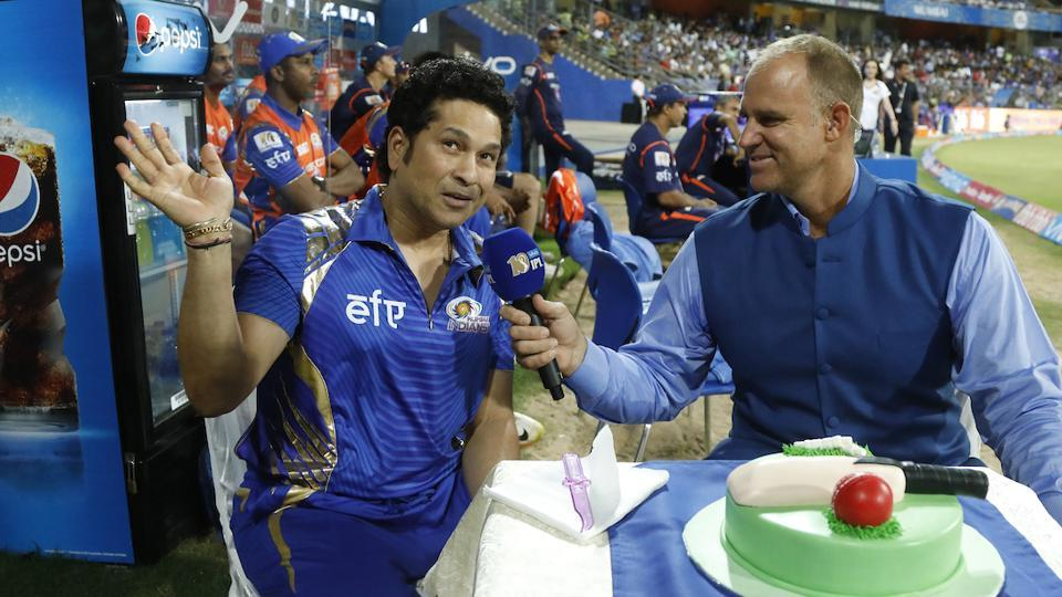 Sachin Tendulkar celebrated his 44th birthday during the 2017 Indian Premier League clash between Mumbai Indians and Rising Pune Supergiant at the Wankhede stadium. (BCCI)