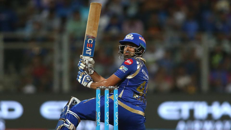 Mumbai Indians captain Rohit Sharma looks back after scooping a delivery over the wicket-keeper's head. (BCCI)