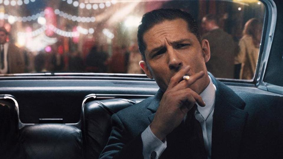 Tom Hardy in a still from Legend, in which he played twin gangsters Reginald and Ronald Kray.