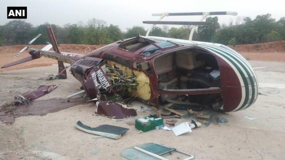 The helicopter carrying CoBRA commandos that crash-landed in Chhattisgarh's Sukma district.