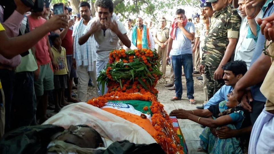 Grieving kin of fallen CRPF jawan Abhay Mishra, ahead of his funeral near his native village in Bihar.