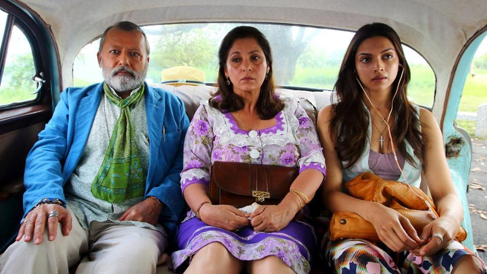 Pankaj Kapoor, Dimple Kapadia and Deepika Padukone in a still from Finding Fanny.