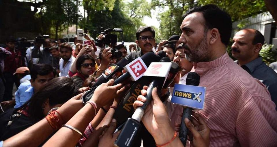 Labour minister Gopal Rai speaks to media outside the residence of chief minister Arvind Kejriwal on Wednesday.