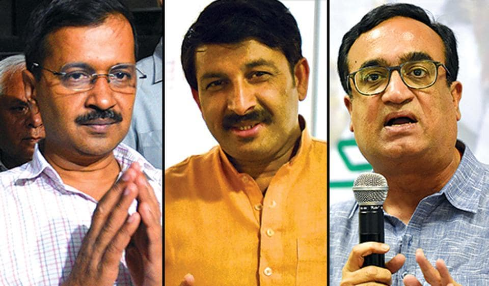 Delhi CM and AAP founder Arvind Kejriwal (L), Delhi BJP chief Manoj Tiwari and Delhi Congress president Ajay Maken (R).