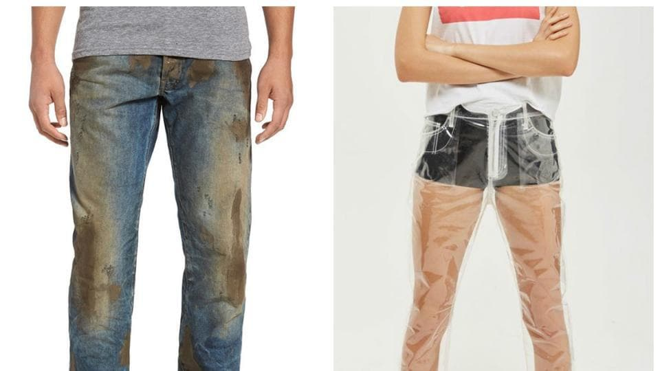 (From left) For $425 and $100 respectively, you could be the proud owner of two pairs of 'jeans'.