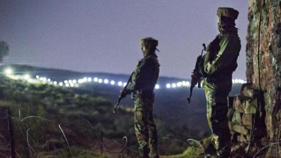 In this file photo, Indian Army soldiers are seen at a post before the illuminated fence in Hamirpur area near Bhimber Gali, about 180km northwest of Jammu. The joint doctrine of the armed forces was released on April 25.