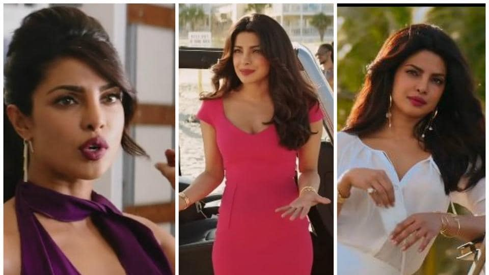 Priyanka Chopra  plays villain Victoria Leeds in the film Baywatch. In the  latest trailer, she slays in her glamorous  outfits.