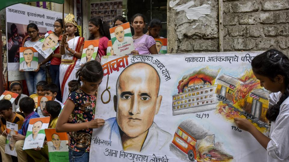 File photo of students in Mumbai protesting against the death sentence given to Kulbhushan Jadhav by a Pakistani military court.