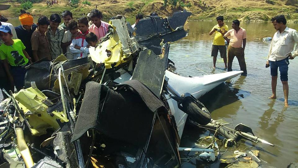 The mangled wreckage of the aircraft that crashed near the Wainganga river on Wednesday.