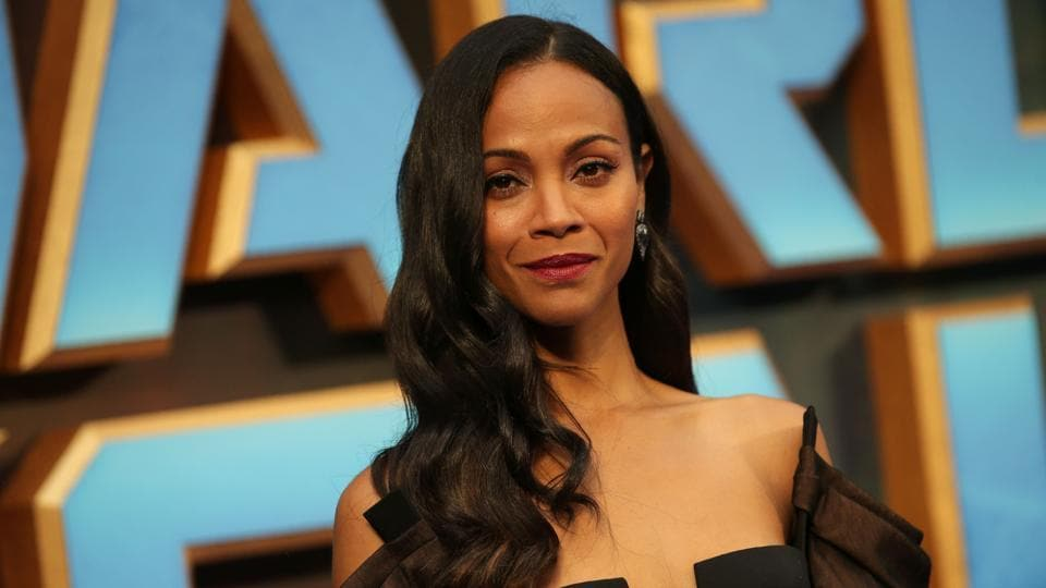 Zoe Saldana poses for a photograph upon arrival at the European Gala screening of Guardians of the Galaxy Vol. 2 in London.