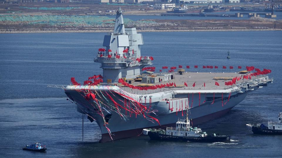 A file photo of Type 001A, China's second aircraft carrier, during a launch ceremony at Dalian shipyard in Dalian, northeast China's Liaoning Province. Strategic experts have linked the June-end deployment of Haiwingxing, a Chinese intelligence gathering ship, to the naval exercises involving US, India and Japan.