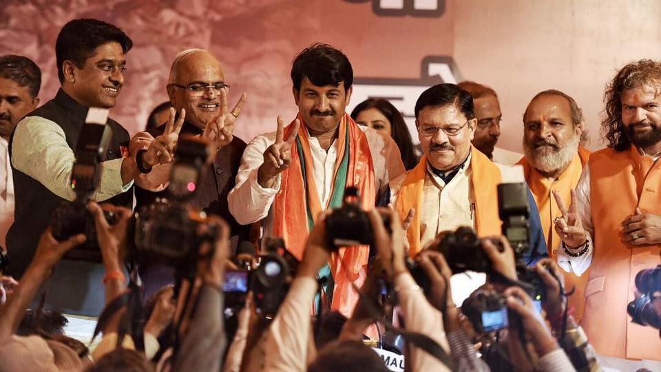 BJP president Manoj Tiwari attends a press conference after winning civic polls at Delhi BJP office. The all-conquering party will not celebrate the victory as a mark of respect to 25 CRPF troopers killed by Maoist rebels in Chhattisgarh. (Raj K Raj/HT Photo )