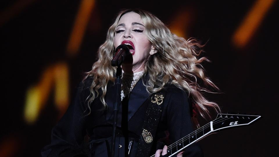 This file photo taken on November 10, 2015 shows US singer Madonna performing on stage during her Rebel Heart tour in Berlin.