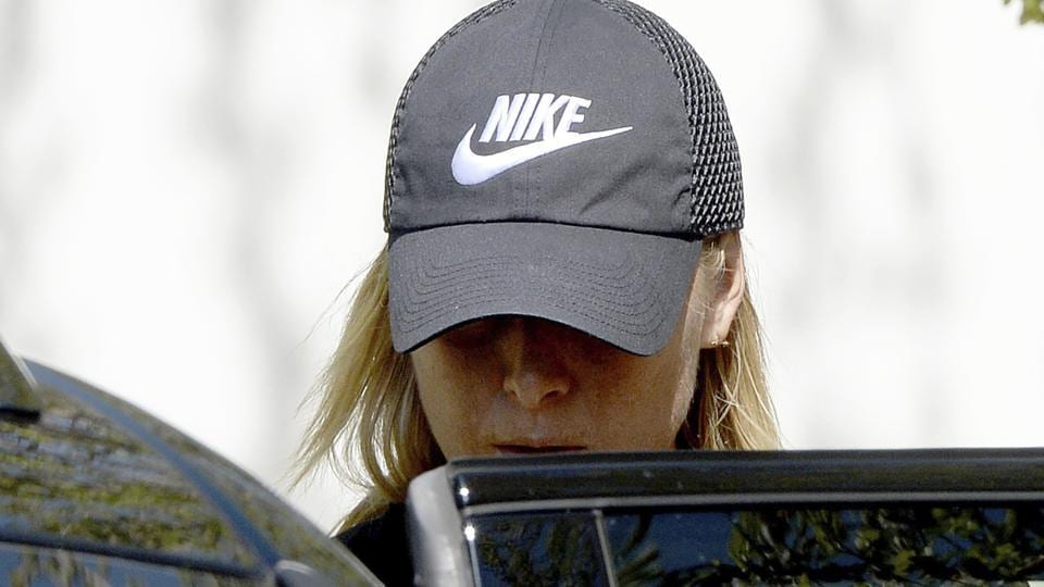Maria Sharapova gets into a car in Stuttgart on Monday, April 24. After the end of her 15-month doping suspension, Maria Sharapova will play at the Porsche Grand Prix tennis tournament in Stuttgart this week.
