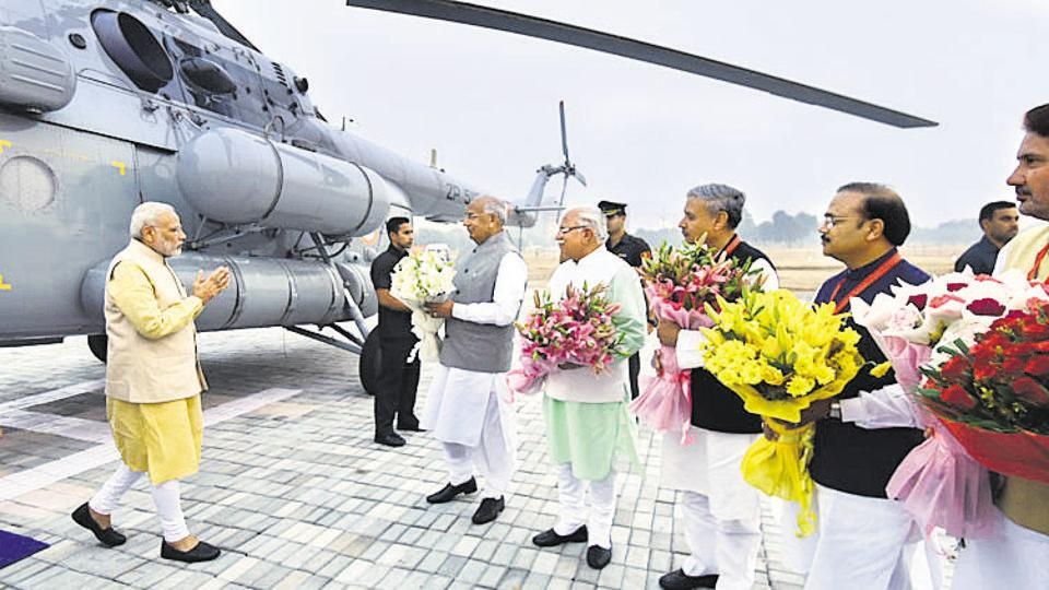 Prime Minister Narendra Modi was the chief guest at the function held on November 1 to celebrate Haryana's golden jubilee year. He had come to the city in a chopper that had landed in Leisure Valley ground.