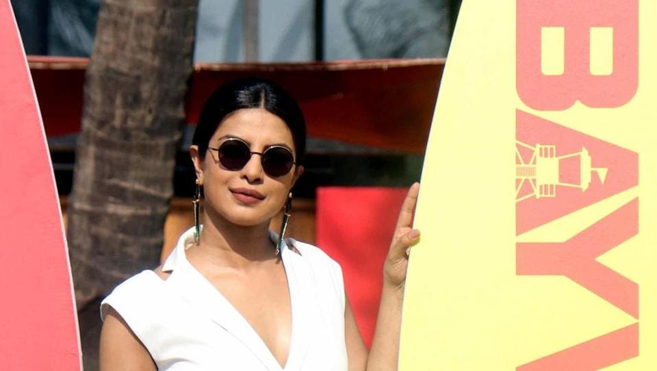 Priyanka Chopra attends a press event for her upcoming US action-comedy film Baywatch in Mumbai.