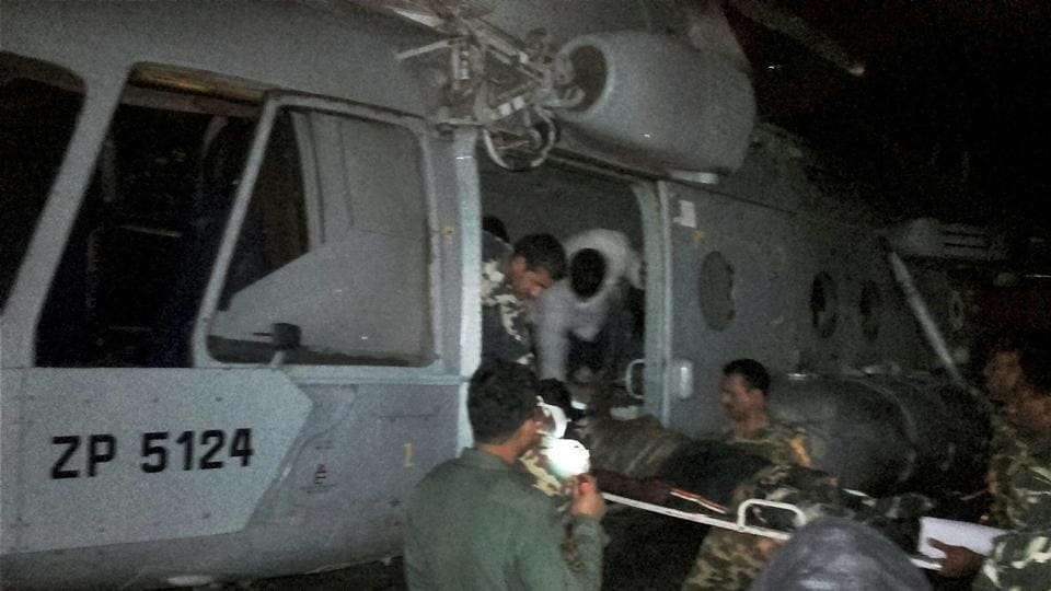 Injured CRPF jawans being airlifted to Raipur by an IAF chopper for treatment on Monday following a Maoist attack in Sukma district.  The Union home ministry will meet on Thursday to dissect the ambush which left 25 CRPF troopers dead.