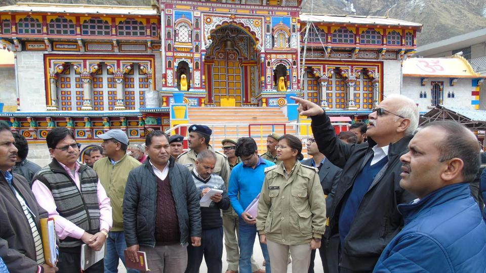 Officials taking stock of the Char Dham preparations at Badrinath on Wednesday