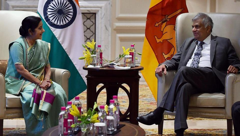 Prime Minister of Sri Lanka, Ranil Wickremesinghe and External Affairs Minister Sushma Swaraj during a meeting in New Delhi on Wednesday.
