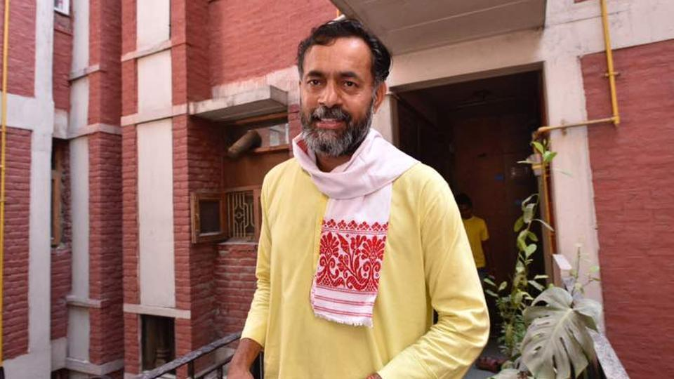 Swaraj India leader Yogendra yadav pictured at his residence. (Arun Sharma/HT Photo)