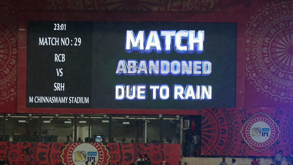 The game 29 of 2017 Indian Premier League between Royal Challengers Bangalore v Sunrisers Hyderabad was abandoned due to incessant rain – even without a ball being bowled.  (BCCI )