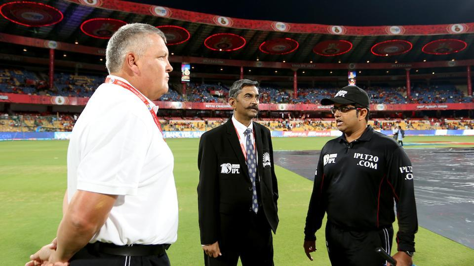 The umpires finally called the game off at 2300 hrs with the rain refusing to relent.  (BCCI )