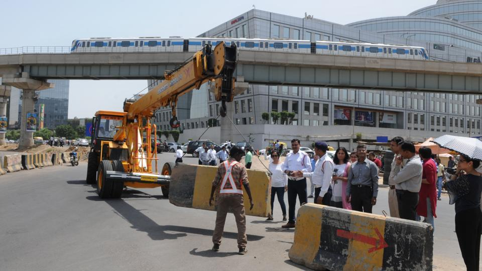 According to a traffic official, the road near DLF Square was closed in order to control traffic coming from Delhi and Gurgaon. The need arose after an underpass was opened near Cyber City.