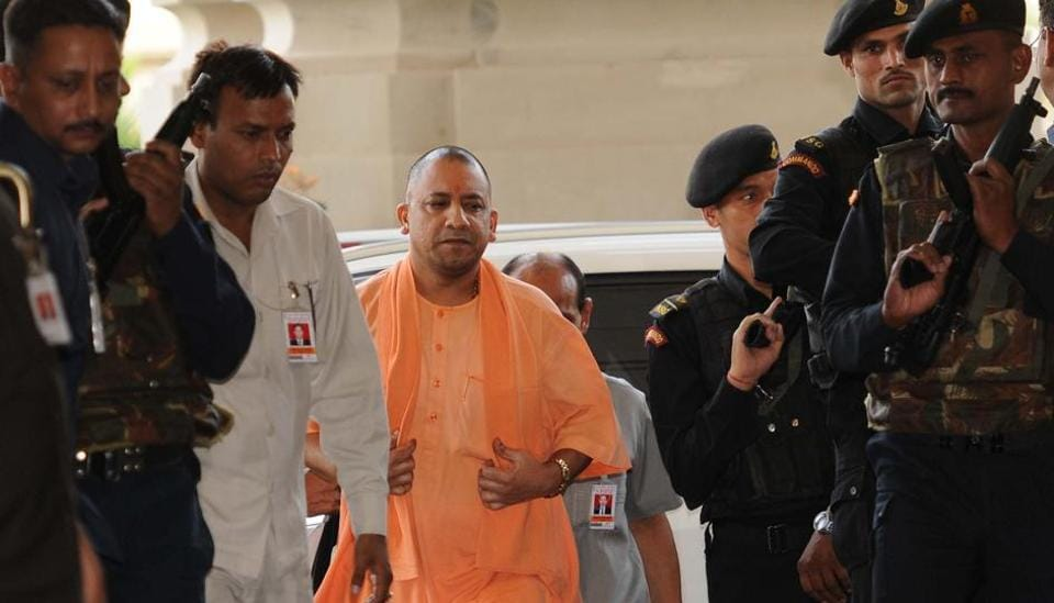 Uttar Pradesh chief minister Yogi Adityanath arrives for a cabinet meeting at Lokbhavan in Lucknow on Tuesday.