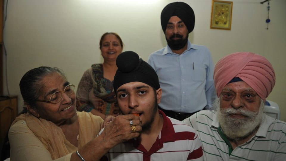 Prabhpreet Singh Sodhi with his family in Jalandhar on Thursday.