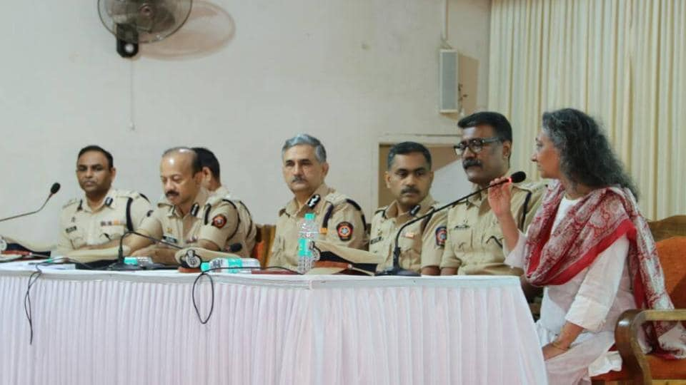 Police officers take part in a discussion on Wednesday