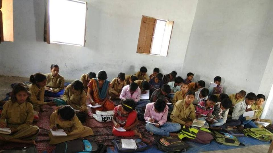 Students studying in a government primary school in Allahabad.