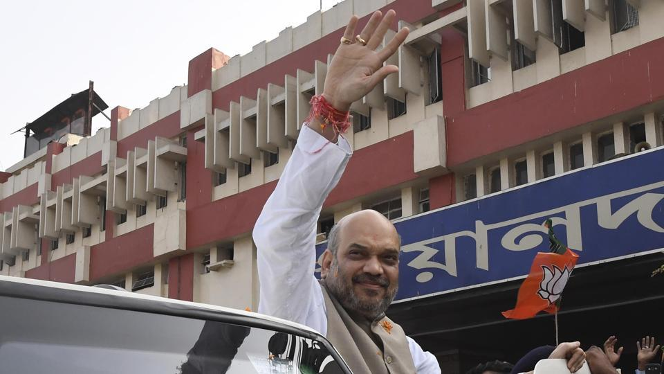 BJP chief Amit Shah at Sealdah station in Kolkata on Wednesday, during his three-day visit to West Bengal.