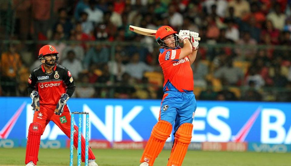 Aaron Finch hits a six during match 31 of 2017 Indian Premier League between Royal Challengers Bangalore and Gujarat Lions at the M.Chinnaswamy Stadium.Get full cricket score of RCB vs GLhere