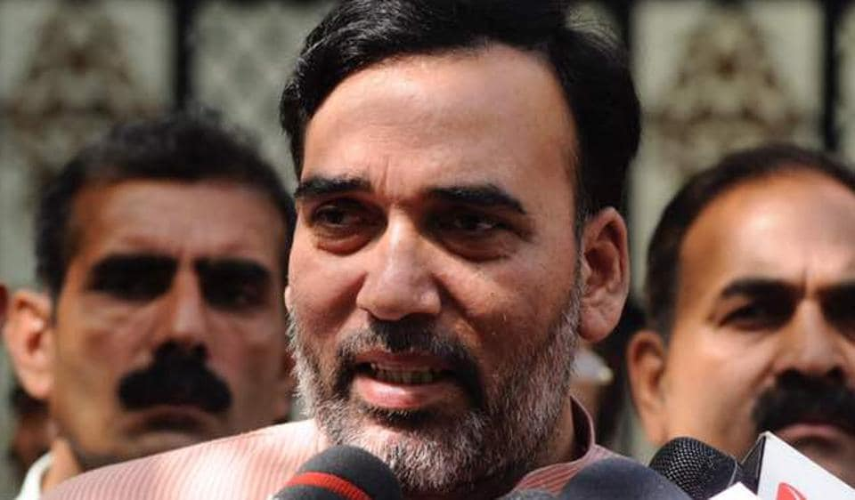Delhi labour minister Gopal Rai speaking to media after MCD election result on Wednesday.