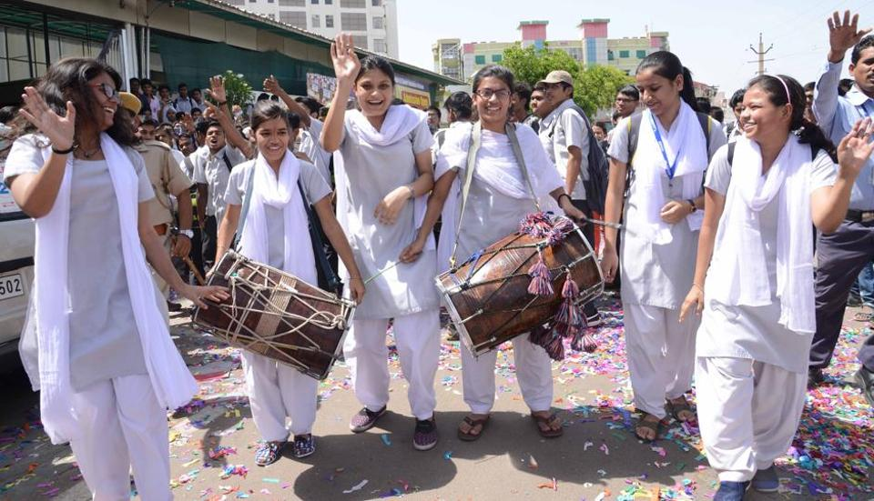 Students celebrate the results of the JEE MAINS 2017  in Kota on Thursday.