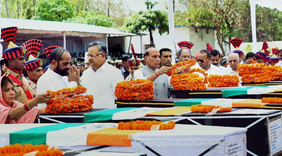 Home minister Rajnath Singh pays tribute to CRPF jawans killed in the Maoist attack in Chhattisgarh's Sukma district, in Raipur on Tuesday. Singh has said the government saw the attack as a challenge from the Maoists