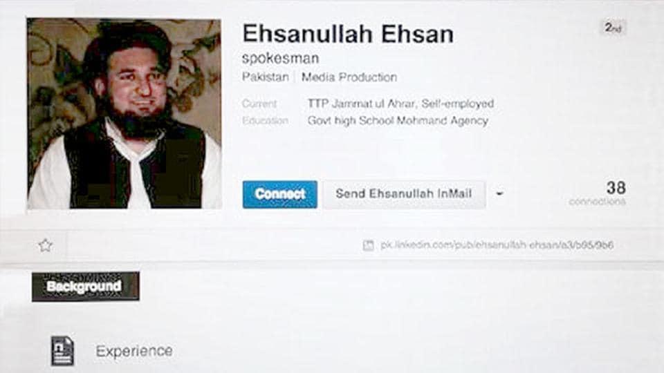A screenshot of the LinkedIn profile of former Taliban spokesman Ehsanullah Ehsan.