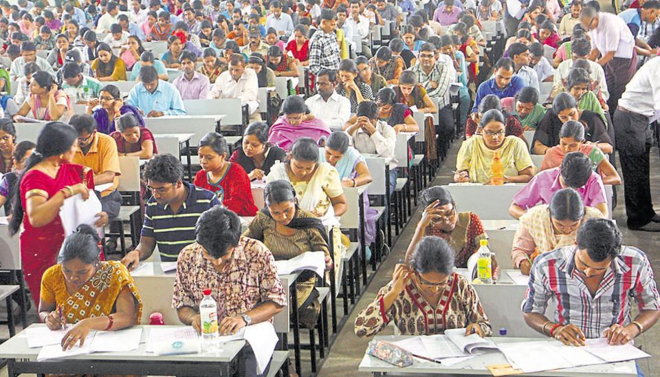 Students appear for the NET exam at Ranchi University.